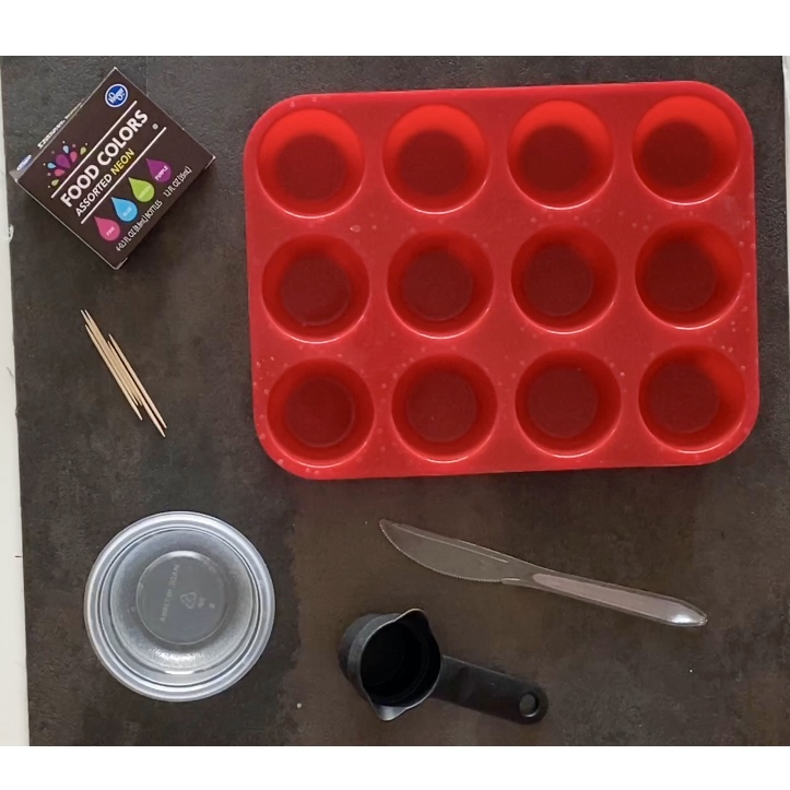 stirring resin to DIY sewing pattern weights