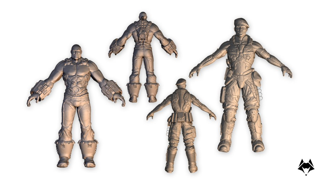3D characters high poly
