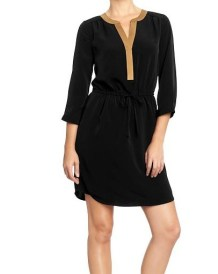 Tipped-Collar Crepe Dress Old Navy, $29.94
