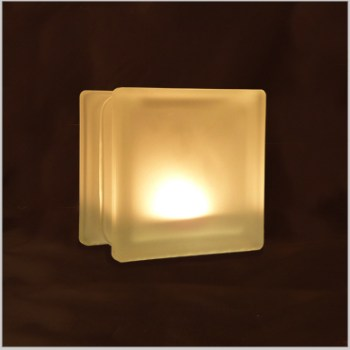 Glass block glass tealight candle holder