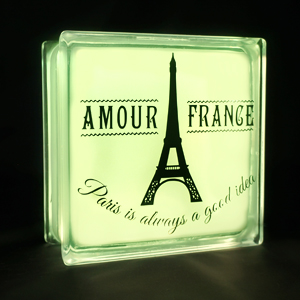Glass block LED light with Eiffell tower decal