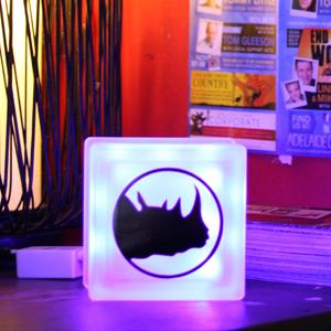 Glass block Globlock LED light with customised rhino room logo