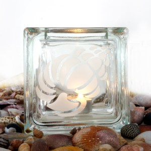 Glass tea light candle holder sea shell etching