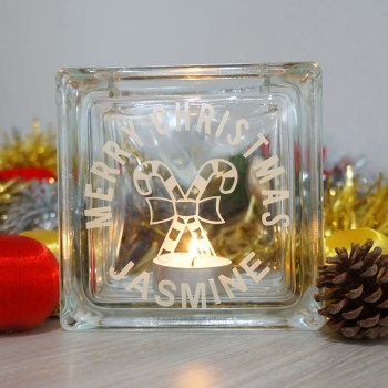 Personalised candy cane candle holder