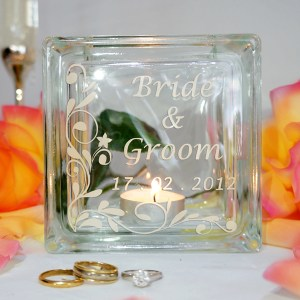 Personalised name wedding candle holder