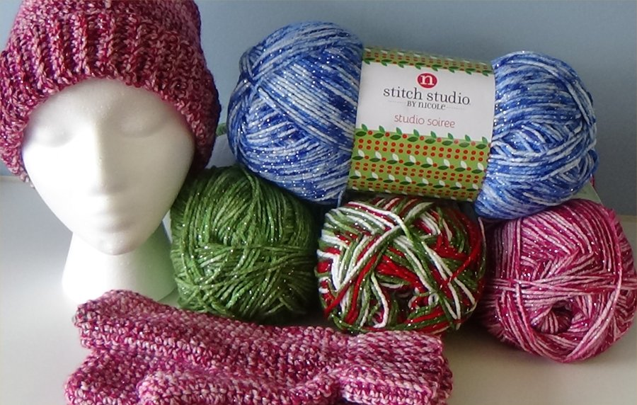Hat and Mitten Kit Hooks NOT Included choice blue, green, cranberry or multi