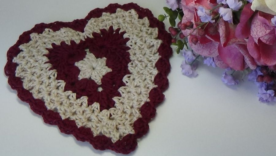 Burgundy and Tan Heart Dishcloth