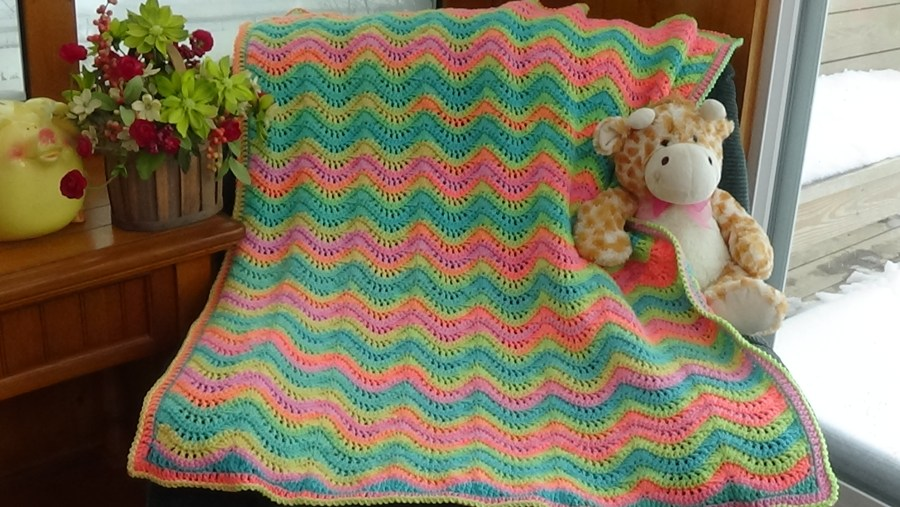 #524 Rainbow Fan & Feather Baby Afghan