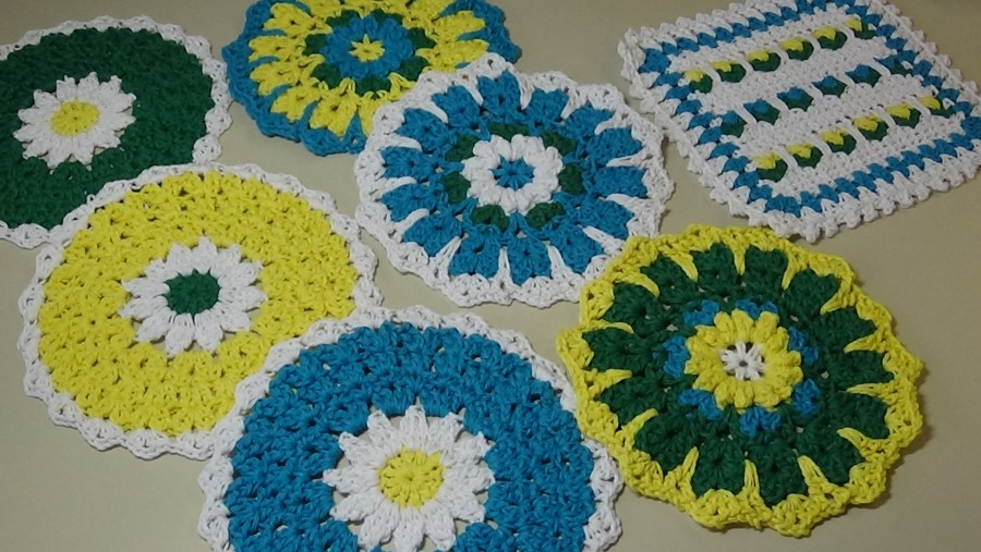 April Showers Dishcloths Turquoise Yellow Dk Green White