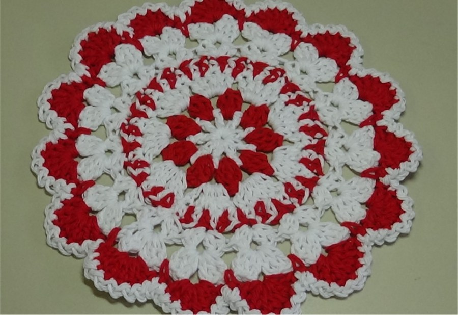 thumbnail_# 558 Christmas Flower dishcloth photo