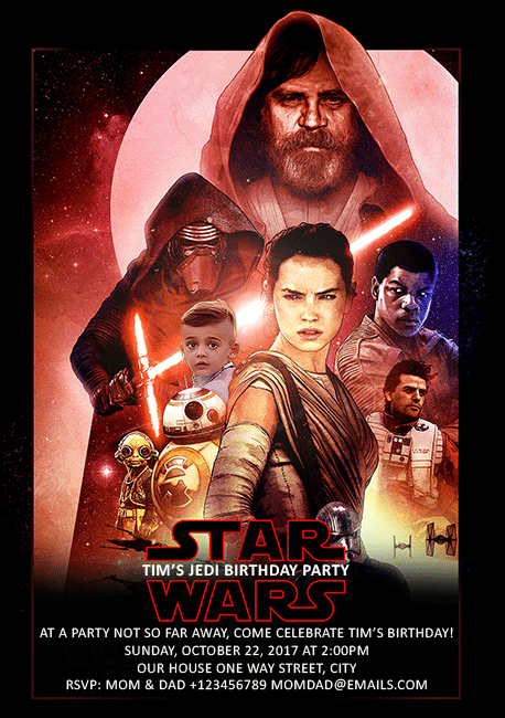 Star Wars The Last Jedi Custom Invitation