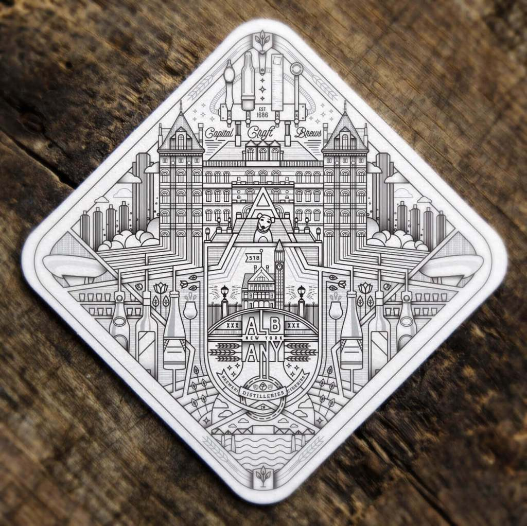 A coaster designed by Jared Schafer.
