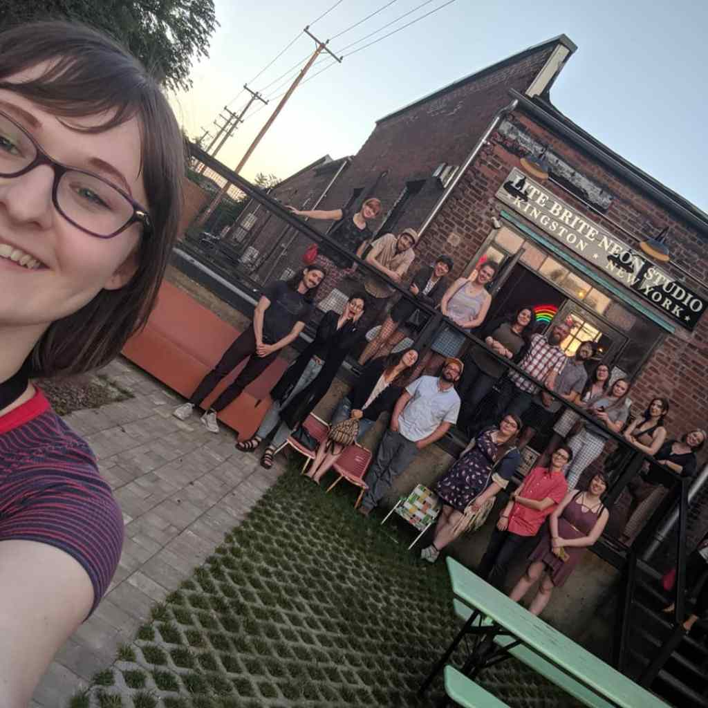 "A group selfie at the AIGA Upstate ""Connect with Creatives"" event that Shauna organized at Lite Brite Neon in Kingston."