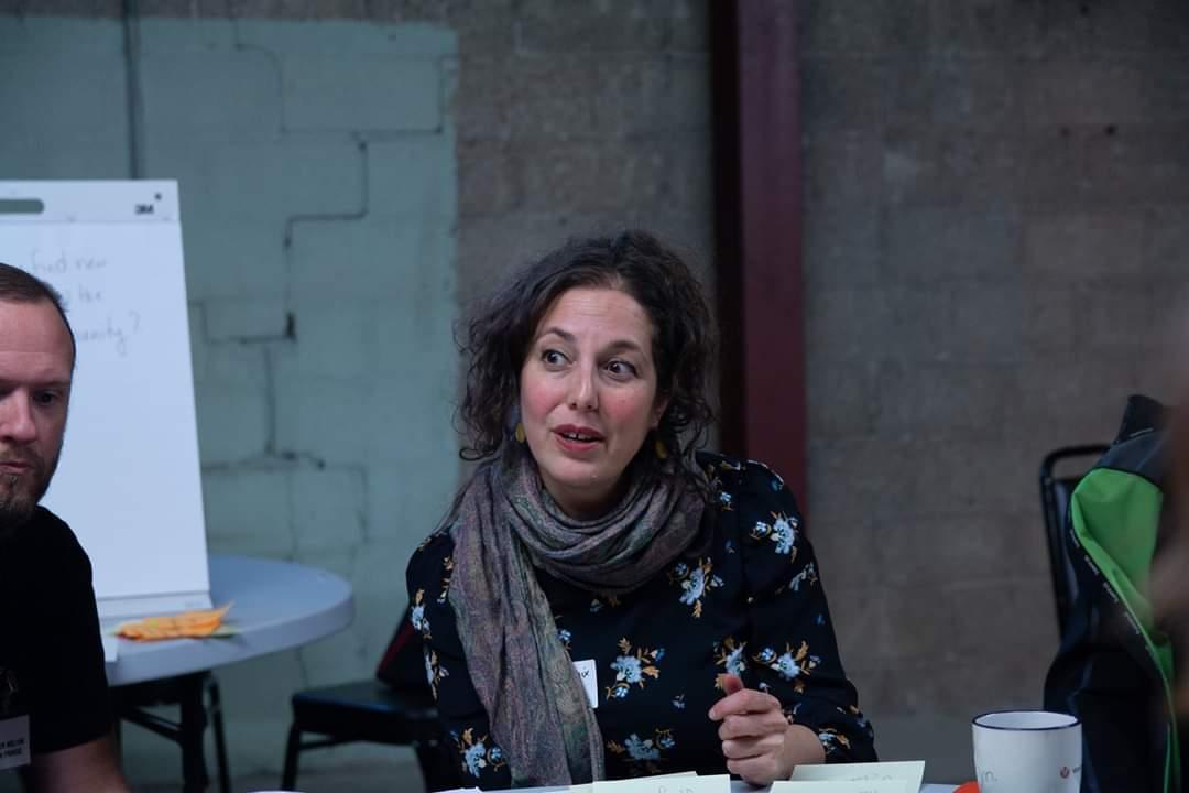 Jennifer Phenix leading a creative problem solving workshop at CAFF.