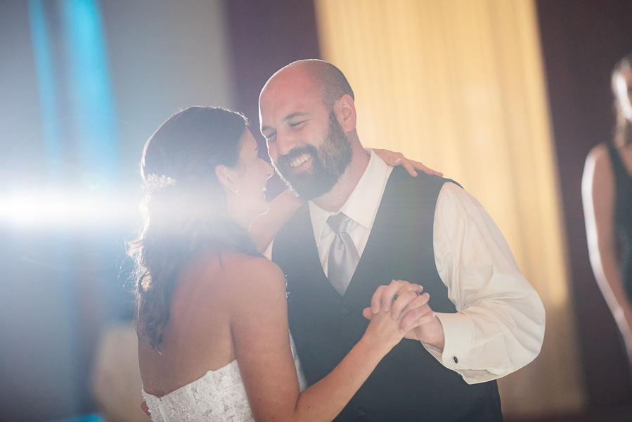 First dance with burst of light by bride and groom