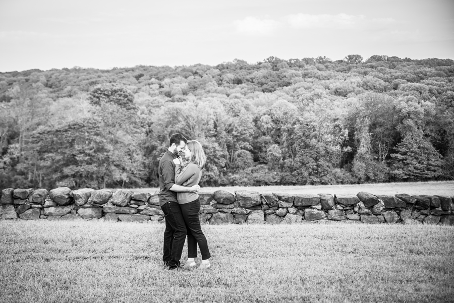 Engaged couple with beautiful background at Brandywine Creek engagement session
