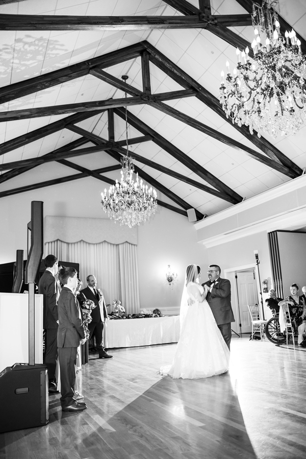 Black and white of first dance at University and Whist Club