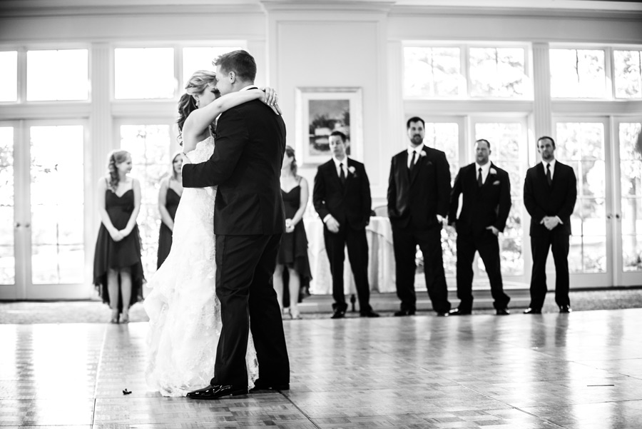 Black and white shot of bride and groom's first dance at Deerfield in Newark Delaware