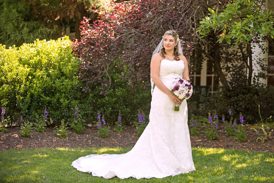 Outdoor portrait of bride on the grounds of Deerfield Golf Club