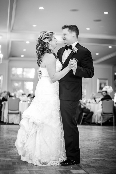 A black and white photo of the first dance at Deerfield Golf Club in Delaware