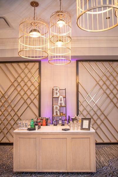Chic bar set up for Hilton Christiana wedding