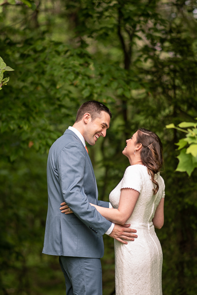 Bride and groom see each other for first look before intimate Delaware wedding
