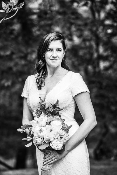 Black and white of bride before Delaware ceremony
