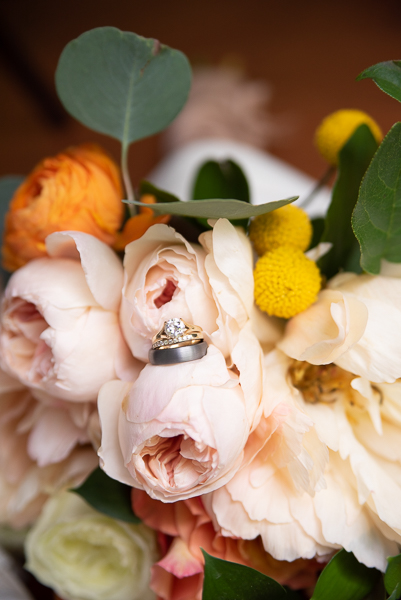 Rings and flowers for intimate Delaware wedding
