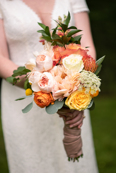 Homemade bouquet for intimate Delaware wedding