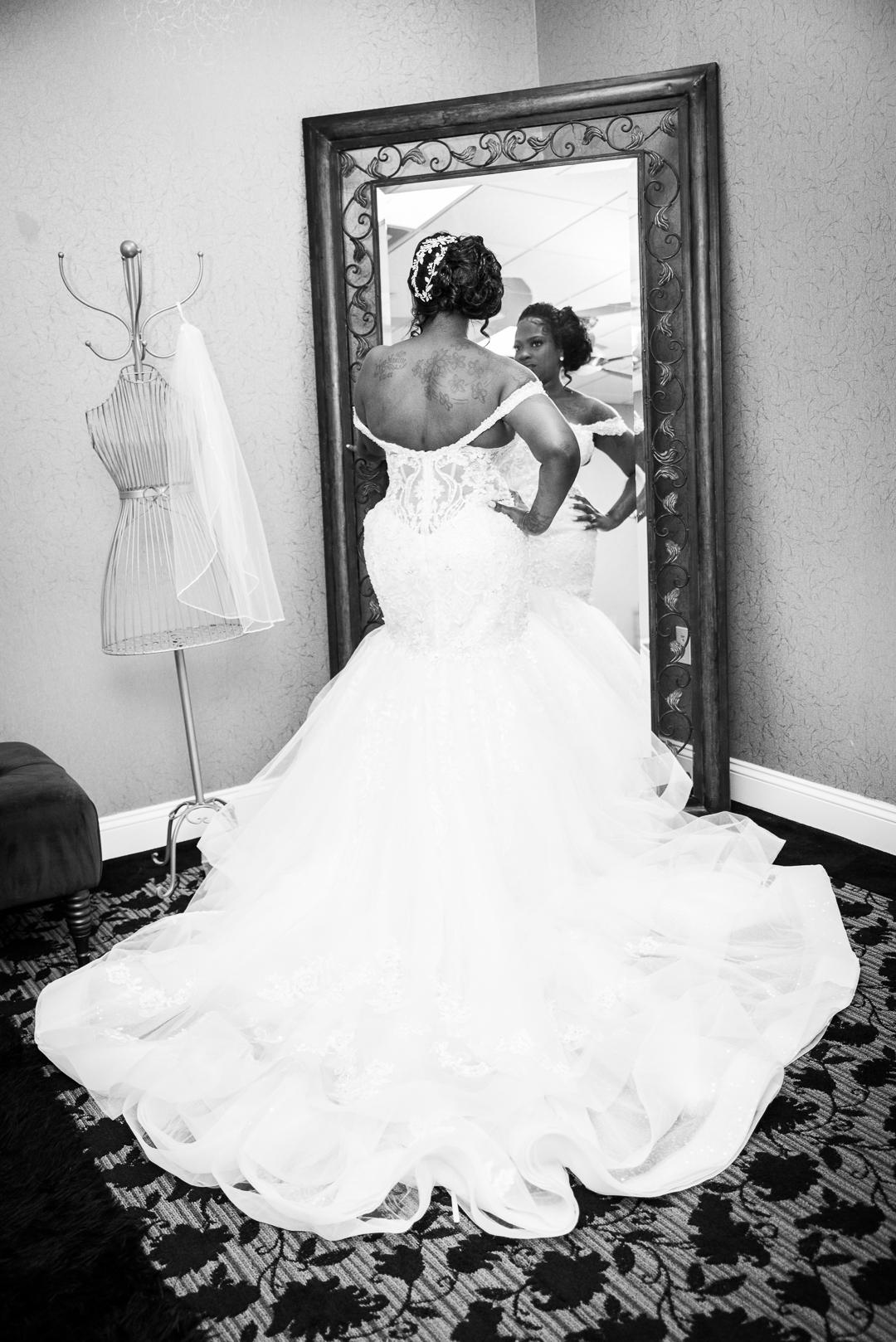 bride by mirror