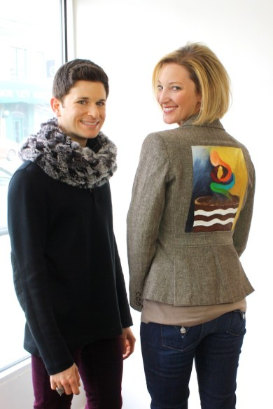 Artist Josh Miller with participant Kelly K