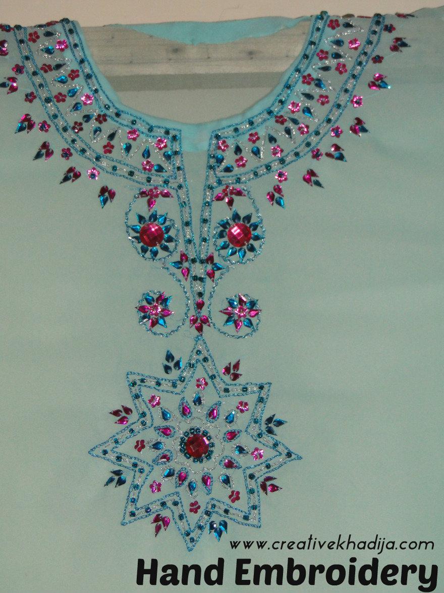 hand embroidery on shirt shiffon fabric