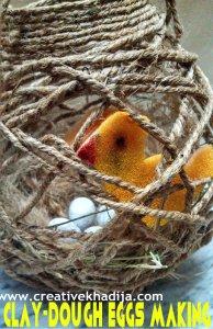 clay dough birds eggs making