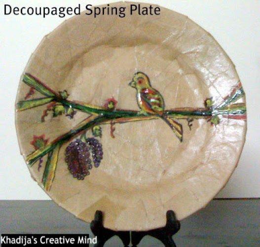 spring plate decoupage