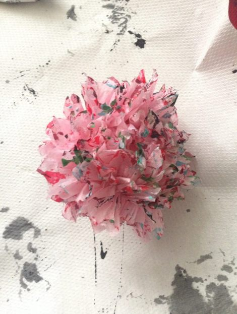 tissue paper pink flowers making