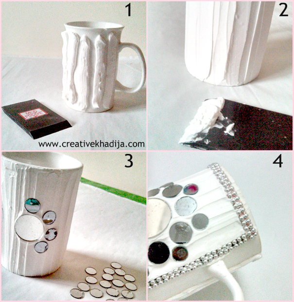 Mug Decorated with Mirrors and Collage Clay-Tutorial