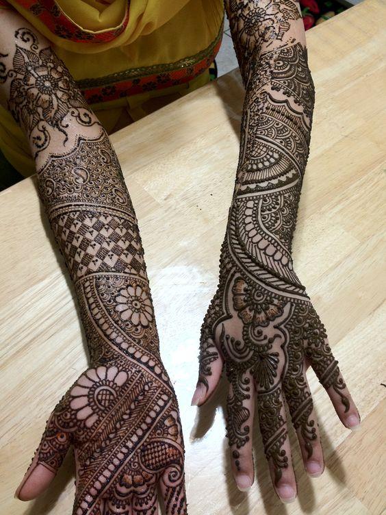 traditional full hand bridal mehndi