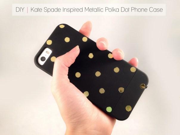 DIY metallic polka dot phone cover
