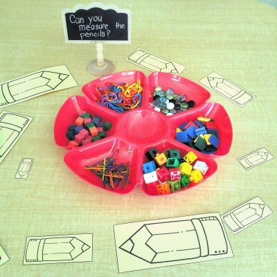 Can you measure the pencils? Math provocation for kindergarten