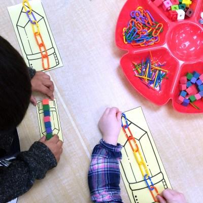 Measuring pencils math center for kindergarten