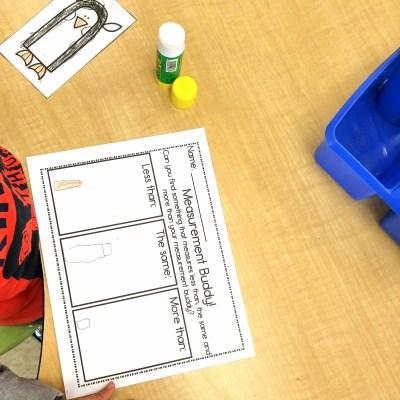 measurement buddies math activity for kindergarten students