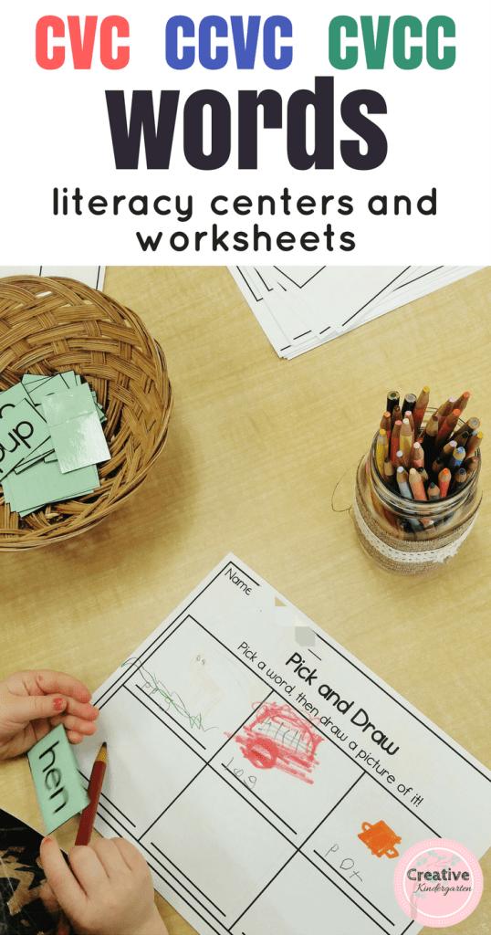 CVC CCVC CVCC words worksheets and activities for kindergarten