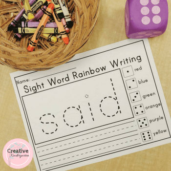Sight word rainbow writing activity pages for kindergarten literacy centers