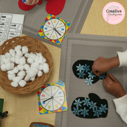 Math loose parts center for winter in kindergarten