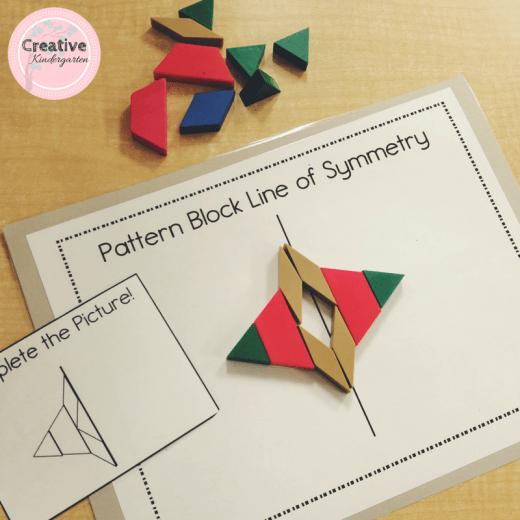 pattern block line of symmetry task cards and work mat for kindergarten