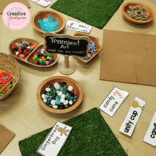 Transient art provocation for kindergarten literacy center