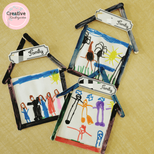 Family Day frames made by our kindergarten students. Great for celebrating their families and a cute craft to take home.