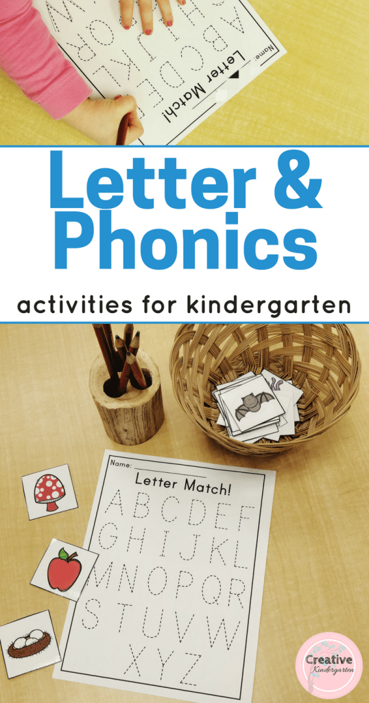 Letter and phonics activities for kindergarten students. Use for literacy centers and worksheets