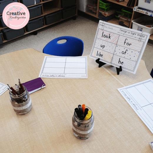 design a sight word literacy center for kindergarten. practice sight word recognition and spelling