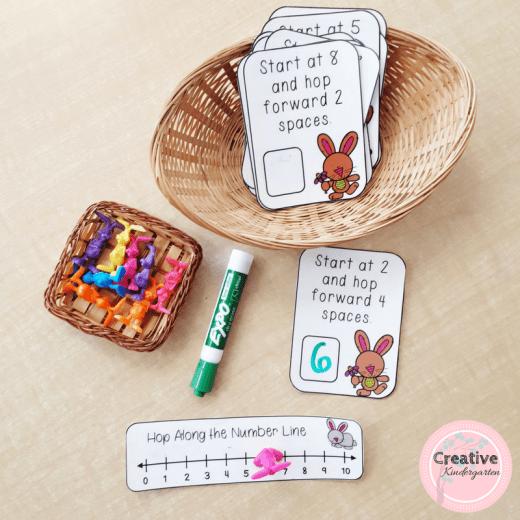 Hop along the number line addition and subtraction task cards for kindergarten